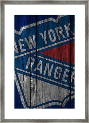 New York Rangers Wood Fence Framed Print by Joe Hamilton