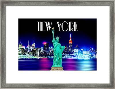 New York Shines Framed Print by Az Jackson