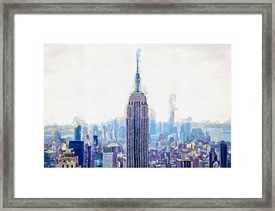 New York Skyline Art- Mixed Media Painting Framed Print by Wall Art Prints
