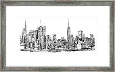 New York Skyline As Gift Framed Print by Building  Art