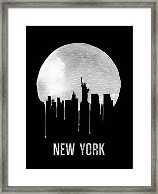 New York Skyline Black Framed Print by Naxart Studio
