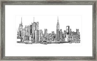 New York Skyline In Ink Framed Print by Adendorff Design