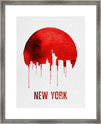 New York Skyline Red Framed Print by Naxart Studio