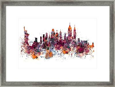 New York Skyline Watercolor Framed Print by Marian Voicu