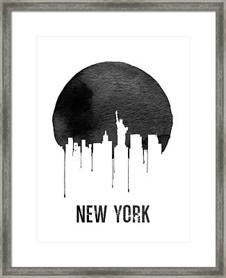 New York Skyline White Framed Print by Naxart Studio