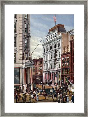 New York Stock Exchange In 1882 Framed Print by Everett