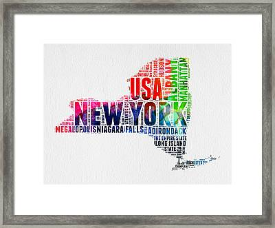 New York Watercolor Word Cloud Map Framed Print by Naxart Studio