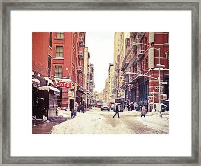 New York Winter - Snowy Street In Soho Framed Print by Vivienne Gucwa