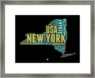 New York Word Cloud Map 1 Framed Print by Naxart Studio