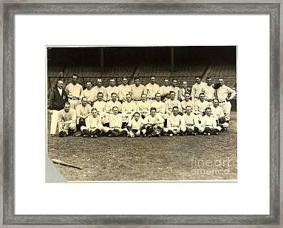 New York Yankees Baseball Team Posed Framed Print by Pg Reproductions