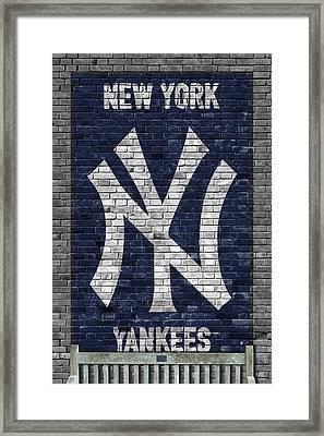 New York Yankees Brick Wall Framed Print by Joe Hamilton