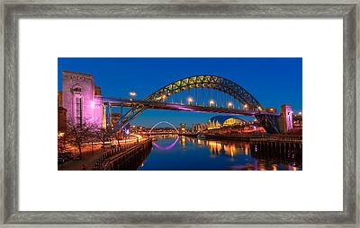 Newcastle Tyne Bridge And Sage At Blue Hour Framed Print by John Brown