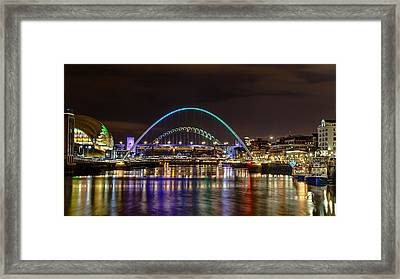 Newcastle Tyne Bridges And Sage At Night Framed Print by John Brown