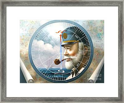 News  Map Captain  Or  Sea Captain Framed Print by Yoo Choong Yeul