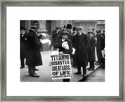 Newsboy Ned Parfett Announcing The Sinking Of The Titanic Framed Print by English School