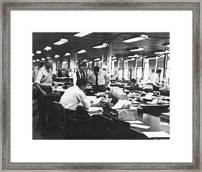 Newspaper's City Room Framed Print by Underwood Archives