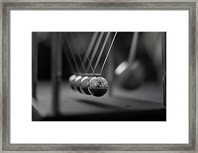 Newton's Cradle In Motion - Metallic Balls Framed Print by N.J. Simrick