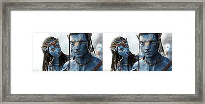 Neytiri And Jake - Gently Cross Your Eyes And Focus On The Middle Image Framed Print by Brian Wallace