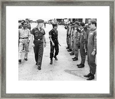 Nguyen Van Thieu On Base Tour Framed Print by Underwood Archives