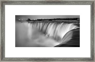 Niagara Falls At Dusk Black And White Framed Print by Adam Romanowicz