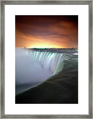 Niagara Falls By Night Framed Print by Insight Imaging