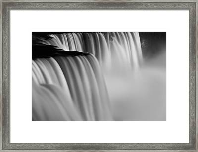 Niagara Falls Illuminations Number 2 B  W Framed Print by Steve Gadomski