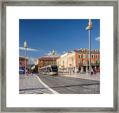 Nice Tramway At Place Massena Framed Print by Elena Elisseeva