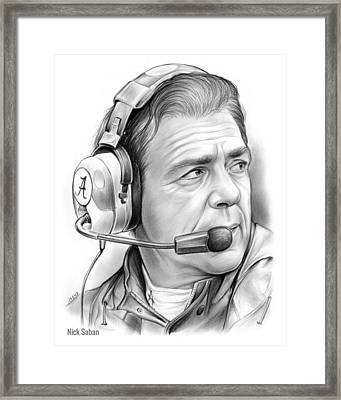 Nick Saban Framed Print by Greg Joens