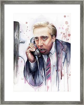 Nicolas Cage A Vampire's Kiss Watercolor Art Framed Print by Olga Shvartsur