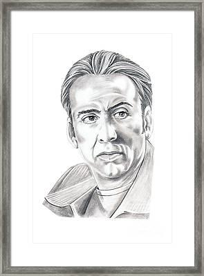 Nicolas Cage Framed Print by Murphy Elliott