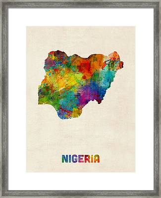 Nigeria Watercolor Map Framed Print by Michael Tompsett