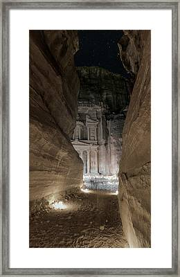 Night At Petra Framed Print by Stephen Stookey
