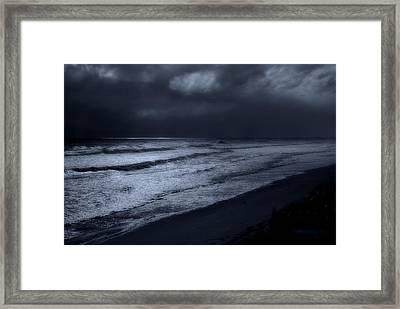 Night Beach - Jersey Shore Framed Print by Angie Tirado