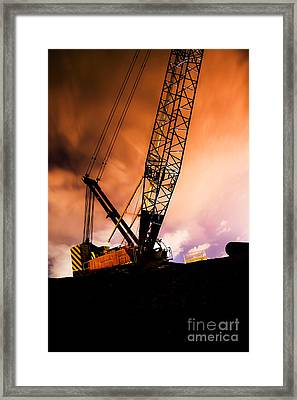 Night Infrastructure Building Construction Framed Print by Jorgo Photography - Wall Art Gallery