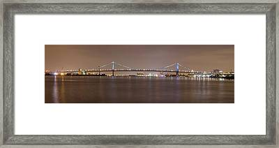 Night On The Delaware - The Benjamin Franklin Bridge Framed Print by Bill Cannon