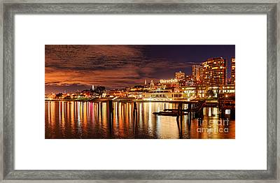 Night Panorama Of Fisherman's Wharf And Ghirardelli Square - San Francisco California Framed Print by Silvio Ligutti