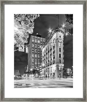 Night Photograph Of The Flatiron Or Saunders Triangle Building - Downtown Fort Worth - Texas Framed Print by Silvio Ligutti
