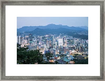 night scene in Seoul Framed Print by Hyuntae Kim