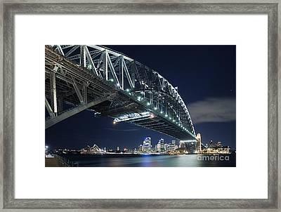 Night Time Shot Of The Sydney Harbour Bridge Framed Print by Justin Paget