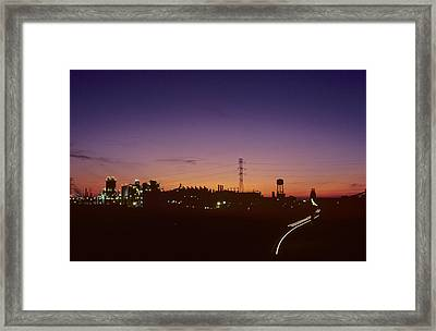 Night View Of An Industrial Plant Framed Print by Kenneth Garrett
