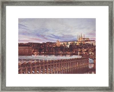 Night View Of Charles Bridge And Prague Castle Framed Print by Gordana Dokic Segedin