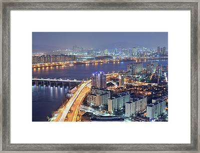 Night View Of Seoul Framed Print by Tokism