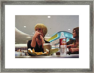 Nighthawks At The Foodcourt Framed Print by James W Johnson