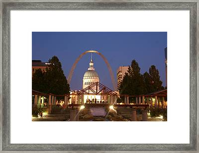 Nighttime At The Arch Framed Print by Marty Koch