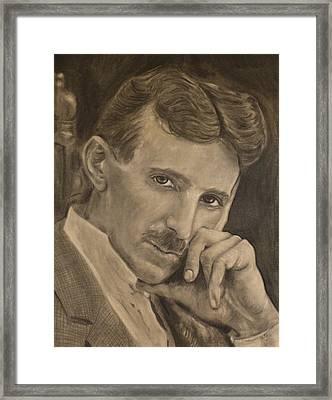 Nikola Tesla Framed Print by Adrienne Martino