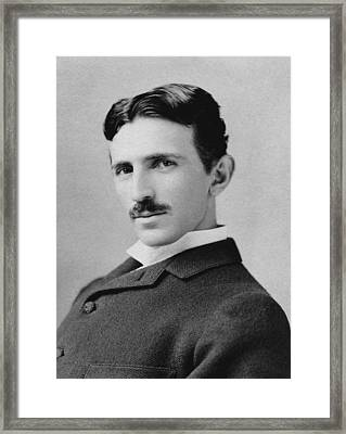 Nikola Tesla - Circa 1890 Framed Print by War Is Hell Store