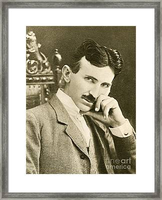 Nikola Tesla, Serbian-american Inventor Framed Print by Photo Researchers