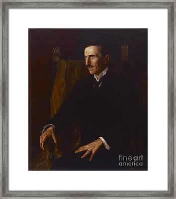 Nikola Tesla Framed Print by Vilma Lwoff-Parlaghy