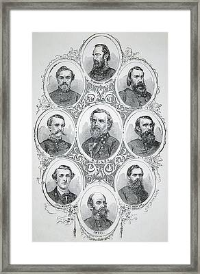 Nine Portraits Of Prominent Generals Of Confederate Army Framed Print by American School