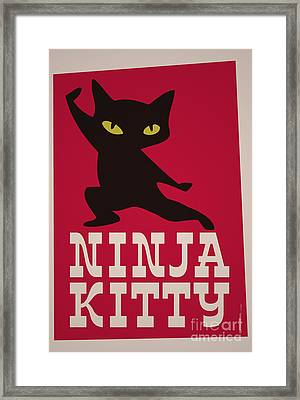 Ninja Kitty Retro Poster Framed Print by Monkey Crisis On Mars
